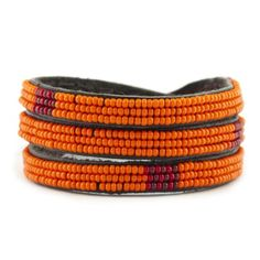 Chan Luu with Ethical Fashion Initiative Kenya Collection - Spicy Orange Combo Seed Bead Triple Wrap Bracelet