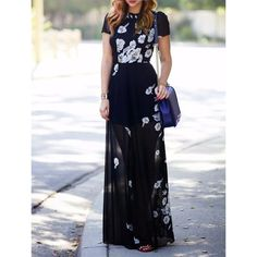 Charming Round Collar Short Sleeve Floral Printed Maxi Dress For Women