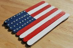 Craft Stick Flag: This sweet American flag craft from A Pumpkin and a Princess can be turned into a magnet or used as an adorable decoration around the house.   Source: A Pumpkin and a Princess