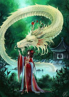 White Dragon<<<I love Eastern Dragons! Japanese Dragon, Chinese Dragon, Magical Creatures, Fantasy Creatures, Fantasy Kunst, Fantasy Art, Dragon Oriental, Dragons, Water Dragon