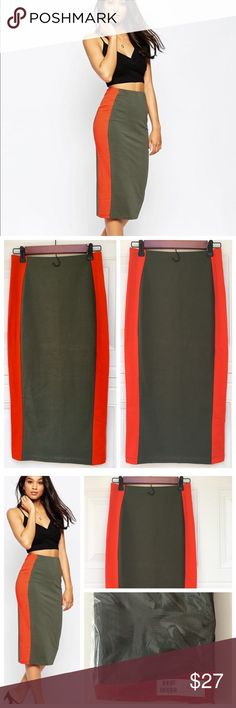 "ASOS Side Stripe Pencil Skirt in Color Block ASOS Brand New with the Tag Side Stripe Pencil Skirt in Color Block in Khaki/Red color in US size 2. Length 31"". Cotton-rich stretch fabric Contrast color block design  Stretch waistband Close cut body-conscious fit Machine wash 95% Cotton, 5% Elastane ASOS Skirts Midi"