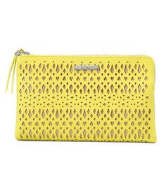 Stella & Dot Double Clutch Citrine Perf  An elegant nod to activewear, this faux-leather design boasts an intricately perforated texture and a neon tennis-ball shade to bring energy to any look. Plenty of interior pockets provide easy organization.  To Buy = www.stelladot.com/saravick