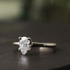 {NEW} Pear Moissanite Engagement Ring | Andrea Bonelli Jewelry