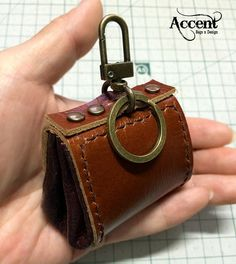 Mini coin purse with key ring Leather Key от AccentHandicraft
