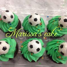 Soccer birthday cupcake. Visit us Facebook.com/marissa'scake.