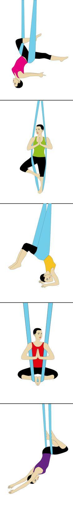 Aerial Yoga Poses. #aerialyoga
