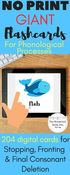 NO PRINT flashcards to treat Phonological Processes for your iPad or teletherapy platform.