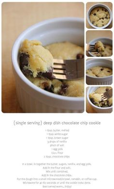 For those days you just want one cookie. Single serve cookie in a bowl! Sub butter Microwave Recipes, Baking Recipes, Snack Recipes, Dessert Recipes, Healthy Mug Recipes, Mug Cakes, Delicious Desserts, Yummy Food, Tasty