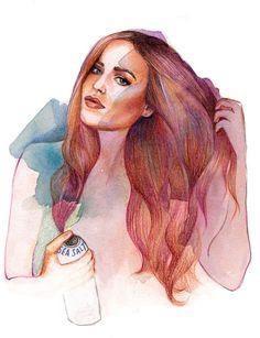 #hairillustration #beautyillustration #watercolour