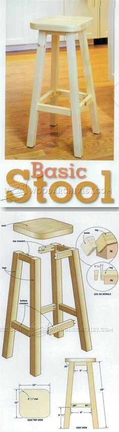 Kitchen Stool Plans - Furniture Plans and Projects  | WoodArchivist.com #woodworkingprojects #WoodworkingPlansKitchen