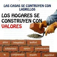 Las casas se contruyen con ladrillos. Los hogares se construyen con valores. (Español-Spanish quote)