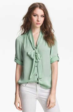 So pretty...  Vince Camuto Tie Neck Blouse available at #Nordstrom