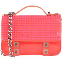 Philipp Plein Handbag ($880) ❤ liked on Polyvore featuring bags, handbags, coral, handbag satchel, red handbags, leather hand bags, red leather purse and satchel handbags