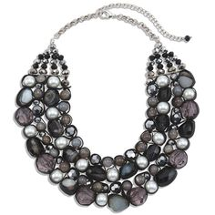Chico's Cinda Statement Necklace ($99) ❤ liked on Polyvore featuring jewelry, necklaces, bead necklace, grey necklace, bib statement necklace, leather jewelry and chicos necklaces