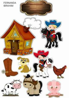 😍😍😍 Diorama Kids, Wild West Theme, Farm Animal Party, Diy And Crafts, Paper Crafts, Barn Parties, Cake Banner, Cowgirl Party, Free Printable Stickers