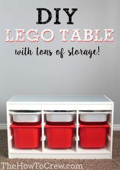 46 Ideas For Diy Baby Room Ideas Organizing Lego Table – - DIY Kinderzimmer Ideen Childrens Play Table, Organizing Hacks, Toy Organization, Bedroom Organization, Lego Bedroom, Minecraft Bedroom, Lego Storage, Lego Table With Storage, Craft Storage
