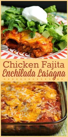 This fun spin on lasagna is an enchilada casserole loaded with chicken fajita filling!