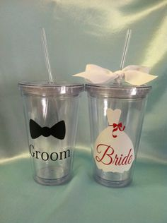 Personalized Bride and Groom Wedding Tumblers - Bride, Bridal Party cups, Groom cups, groom tumbler, wedding party cups, personalized cups. $22.00, via Etsy.