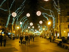 Paseo del Borne, one of the main pedestrian zones in Palma de Mallorca. Spain Christmas lights  :)