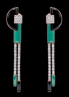 Art deco onyx, green agate, emerald and diamonds set in yellow gold, rose gold and platinum♥≻★≺♥