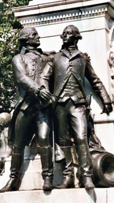 Statue of Alexander Hamilton and John Laurens at Lafayette Park, Philadelphia