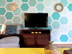 This ombre wall makes geometric best use of painter's tape!