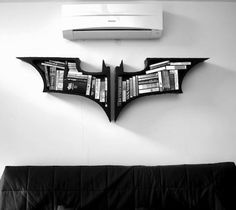 Bring the Nolanverse to your living room with a set of Dark Knight bookshelves. Made to order. Just beam your Bat-Signal into the sky and designer Fahmi Batman Bookshelf, Bookshelves, Bookshelf Ideas, Home Interior, Interior Architecture, Interior Design, Decoration Design, Dark Knight, Coven