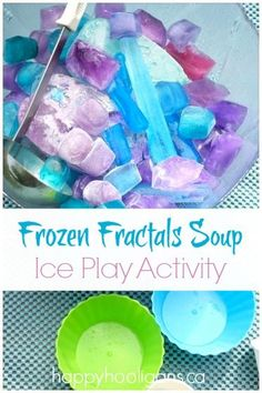 Frozen Fractals Soup Activity - Ice Play for Kids - Happy Hooligans Frozen Activities, Summer Activities For Kids, Sensory Activities, Infant Activities, Sensory Play, Crafts For Kids, Play Activity, Outdoor Activities, Activity Bags