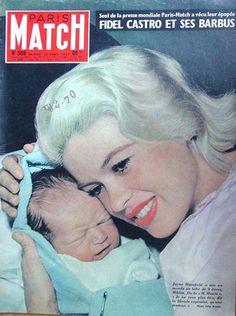 "Jayne Mansfield - Paris Match Magazine [France] (January 10, 1959)  -  mother of Jayne Marie Mansfield (b. 1950) ... Miklós ""Mickey"" Hargitay, Jr. (b. 1958) .... Zoltán Hargitay (b. 1960) ... Mariska Hargitay (b. 1964) ... Antonio ""Tony"" Cimber (b. 1965)    ."