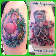 https://www.facebook.com/VorssaInk, http://tattoosbykata.blogspot.fi, #tattoo #tatuointi #katapuupponen #vorssaink #forssa #finland #traditionaltattoo #suomi #oldschool #flamingo #skull