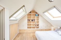 After you complete all the checklist, you should search the attic storage ideas that can suit with your home. Lucky you! We just finished compiling a list Attic Bedroom Storage, Loft Storage, Living Room Storage, Storage Ideas, Attic Living Rooms, Attic Spaces, Built In Furniture, Loft Room, Interior Design Living Room