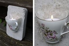Tea cup embedded in plaster/cement? and a candle put inside. Ljusstake – av en kaffekopp Tea cup embedded in plaster/cement? and a candle put inside. Cement Art, Concrete Crafts, Concrete Art, Concrete Projects, Concrete Furniture, Concrete Garden, Polished Concrete, Urban Furniture, Diy Projects To Try