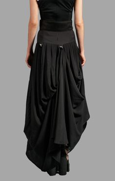 Black Bustle Maxi Flattering Drape Skirt by PinarEris on Etsy