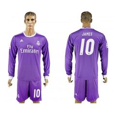 Real Madrid 16-17 James Rodriguez 10 Bortatröja Långärmad  #Fotbollströjor