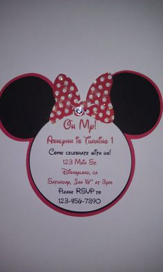 MINNIE MOUSE Birthday Invitations by SparrowsKreations on Etsy, $17.50