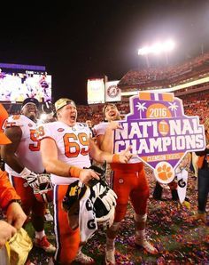 Clemson celebrates after winning the National Championship at Raymond James Stadium in Tampa.