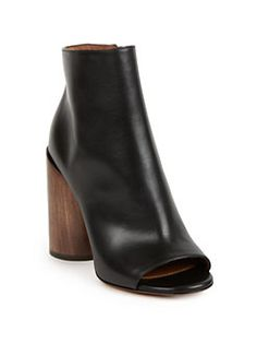 Givenchy - Edgy Line Leather Peep-Toe Cylinder-Heel Booties