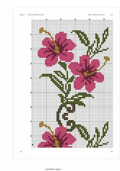This Pin was discovered by Hav Cross Stitch Heart, Cross Stitch Flowers, Counted Cross Stitch Patterns, Cross Stitch Embroidery, Tapestry Crochet, Floral Border, Bead Crochet, Cross Stitching, Hibiscus