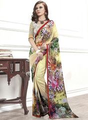 Light Yellow Color Georgette Party Wear Sarees : Tarika Collection  YF-33324