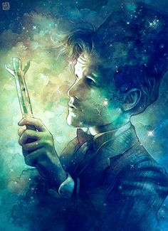 Eleventh Doctor Fan Art by Anna Dittmann: she painted so much emotion on his face, along with the colors...it's both whimsical and heartbreaking