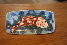 Ceramic painted soap dish, design inspired by the colours of Koi fish.