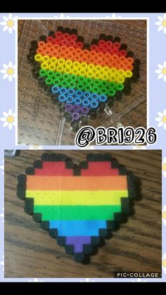 Black outlined Rainbow filled heart perler beads *not my design*