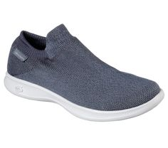 True sock-style walking comfort and style comes in the Skechers GO STEP Lite - Ultrasock shoe that combines innovation and style in a modern athletic look.  Features 5GEN® midsole, Goga Max® Technology and Goga Matrix® in outsole.  Slip on sock-fit design.
