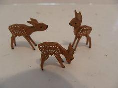 Vintage German Erzgebirge Hand Carved Painted Deer- lil' Bambi's !!!
