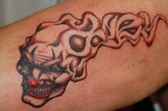 this is a design a did 4 my friends bad clown tattoo which you can see in my gallery killer clown Clown Tattoo, Tattoo Designs, Joker, Skull, Deviantart, Tattoo Ideas, Tatoo, The Joker, Tattooed Guys