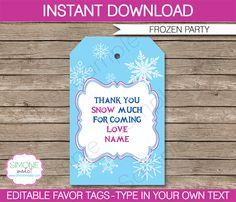 Frozen Party Favor Tags | Thank You Tags | Birthday Party Theme | Editable DIY Template | via SIMONEmadeit.com