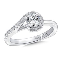 Diamond swirl engagement ring mounting with side stones set in 14k white gold. | Modern and Unique Engagement Ring by Valina Bridals