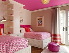 Kids Bedroom. Great Kids Bedroom. #KidsBedroom Paint Color: BM Raspberry Mousse for the ceiling and BM Grant beige on the wall