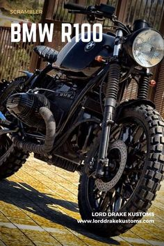 This is a BMW R100 motorcycle customized by Lord Drake Kustoms in a Scrambler style. Custom Bmw, Custom Cafe Racer, Bmw Cafe Racer, Futuristic Motorcycle, Motorcycle Style, Custom Motorcycles, Custom Bikes, Vintage Motorcycles, Bmw 100