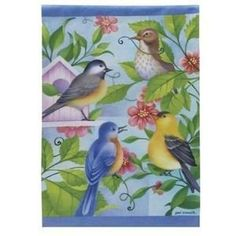 """Bird Quartet Spring Garden Flag by Evergreen. $7.99. Permanently Dyed. Fade & Mildew Resistant. Weather Proof. High Quality Fabric. Vivid Color Process. """"The greeting card to your home."""" Decorative flags make for a wonderful home & garden decoration for every season and reason! Our flags are created from original artwork by some of the nation's finest artists. Our unique process is your gurantee that your flag will retain shape, fabric durability and vivid col..."""